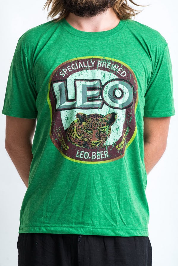 Sure Design Super Soft Vintage Style Thai Beer Leo Shirt Green
