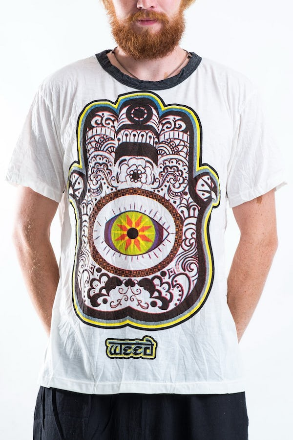 Sure Design Mens Hamsa Eye Power T-Shirt White