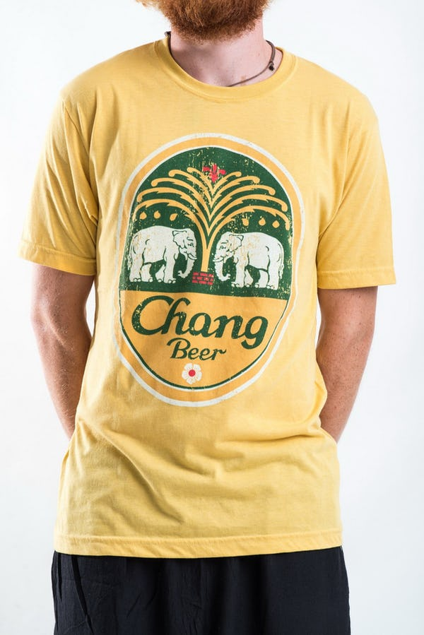 Sure Design Super Soft Vintage Style Chang Beer T-Shirt in Yellow