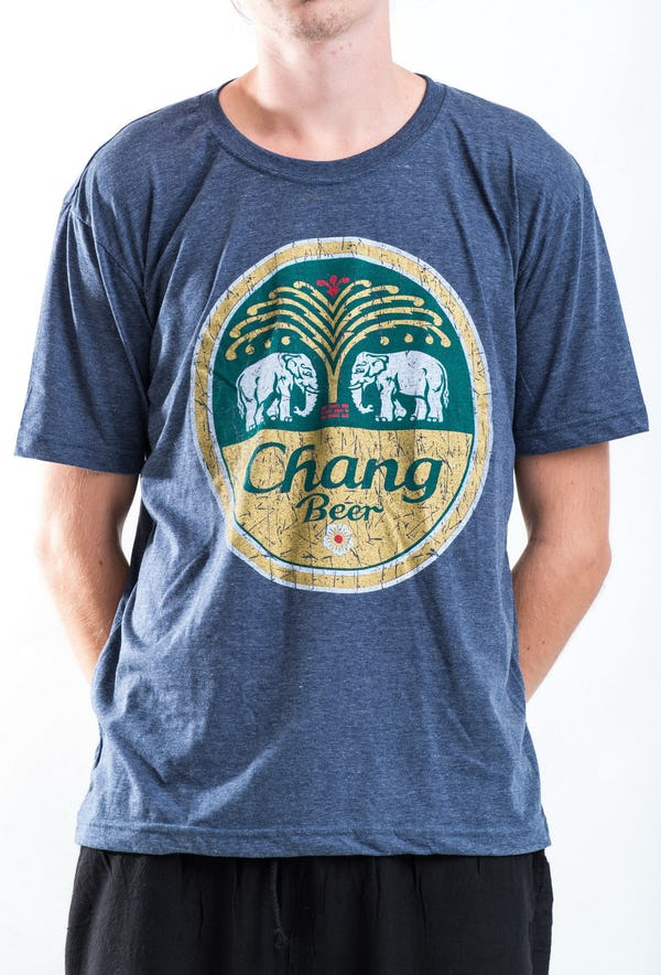 Sure Design Super Soft Vintage Style Thai Beer Chang Shirt Denim Blue