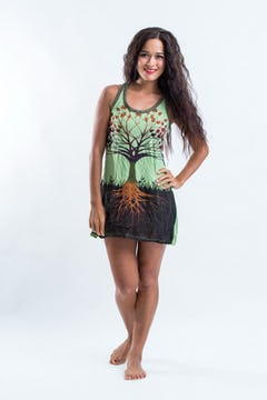 Sure Womens Dragon Tank Dress Green
