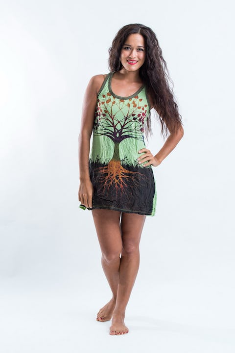 Sure Womens Tree of Life Tank Dress Green