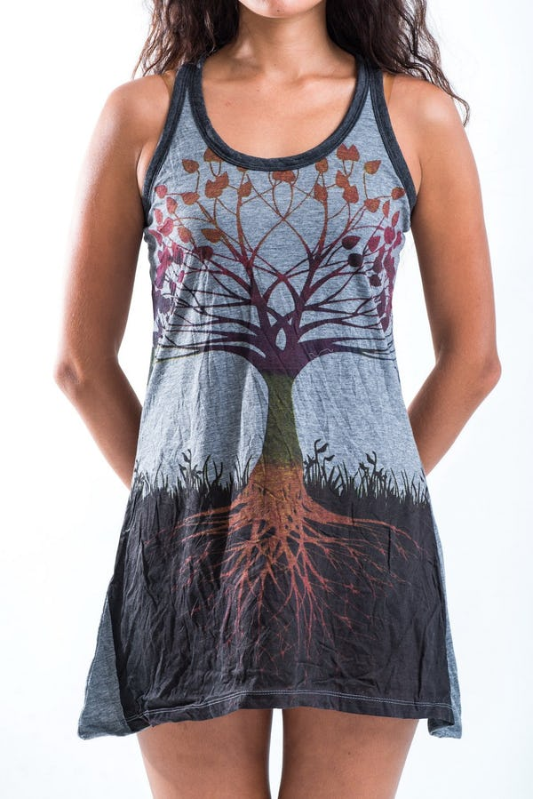 Sure Womens Tree of Life Tank Dress Gray