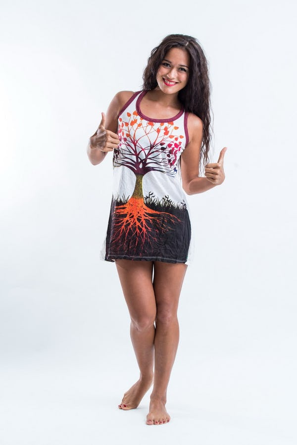 Sure Womens Tree of Life Tank Dress White