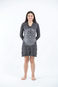 Womens Dreamcatcher Hoodie Dress in Pink