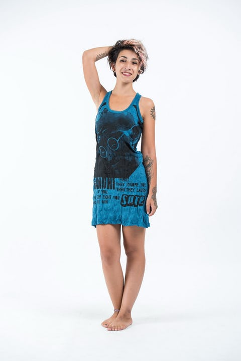 Womens Gandhi Tank Dress in Denim Blue