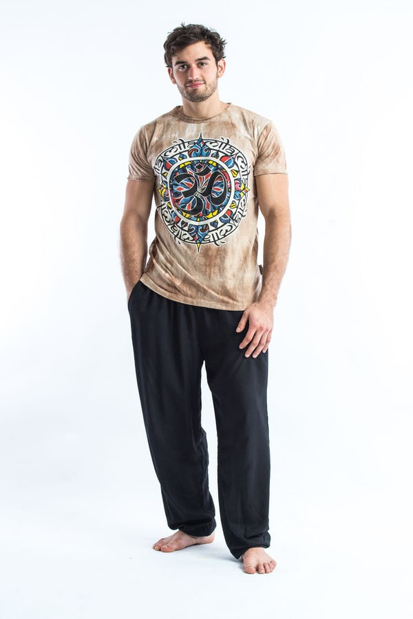 Sure Design Tie Dye Super Soft T-Shirts Om Mandala Brown