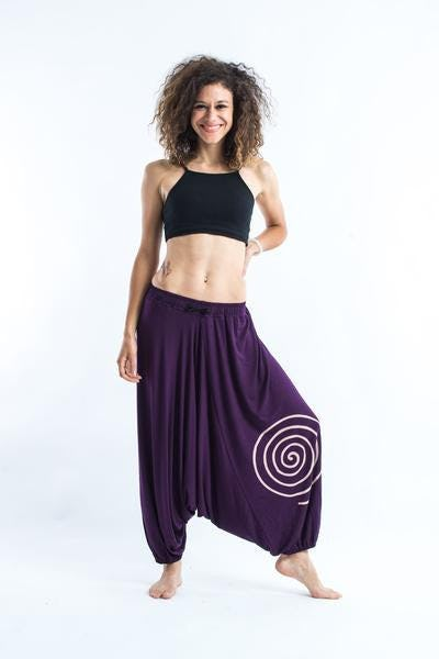 Drawstring Low Cut Harem Pants Cotton Spandex Printed Spiral Purple