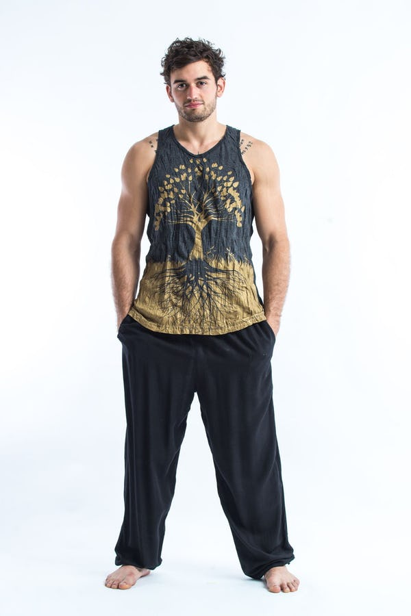 Sure Design Mens Tree Of Life Tank Top Gold on Black