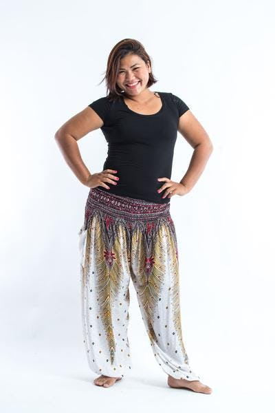 Plus Size Peacock Feathers Unisex Harem Pants in White