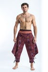 Clovers Thai Hill Tribe Fabric Men's Harem Pants with Ankle Straps in Burgundy