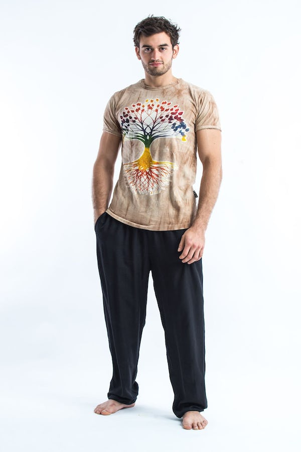 Sure Design Tie Dye Super Soft T-Shirts Tree Of Life Brown