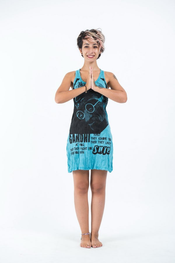 Sure Design Womens Gandhi Tank Dress Turquoise