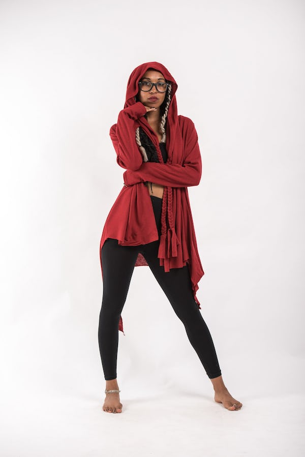 Wrap Around Hoodie Shawl in Red