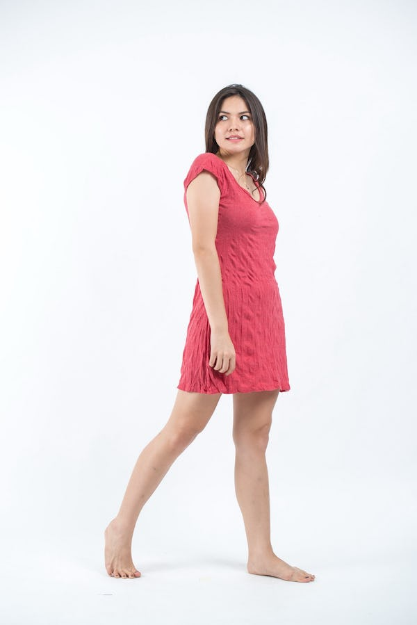 Sure Design Womens Solid Dress Red