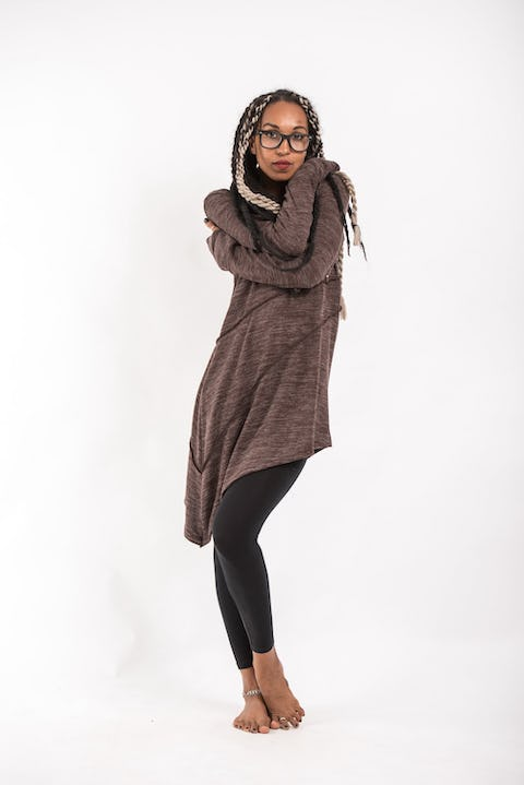 Diagonal Cut Hoodie Dress