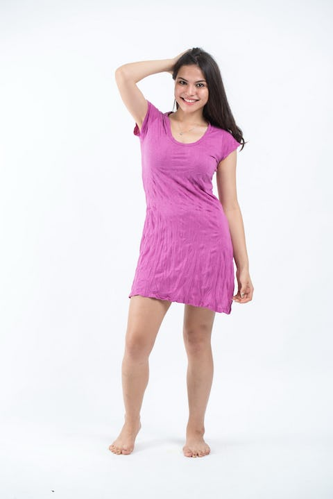 Womens Solid Color Dress in Pink