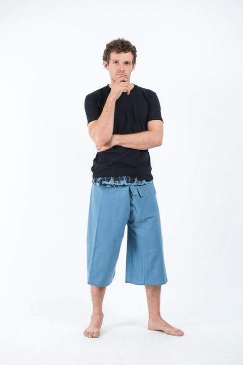 3/4 Unisex Blue Thai Fisherman Pants