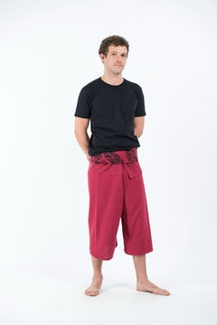 Aztec Stripes Low Cut Unisex Harem Pants in Magenta Blue
