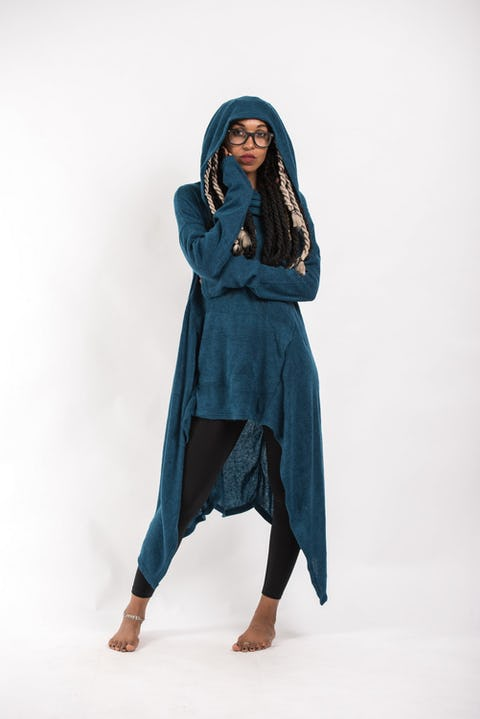 Pullover Hoodie Cloak Combo in Blue
