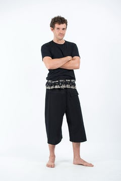 Unisex Black Thai Pin Stripe Cotton Fisherman Pants