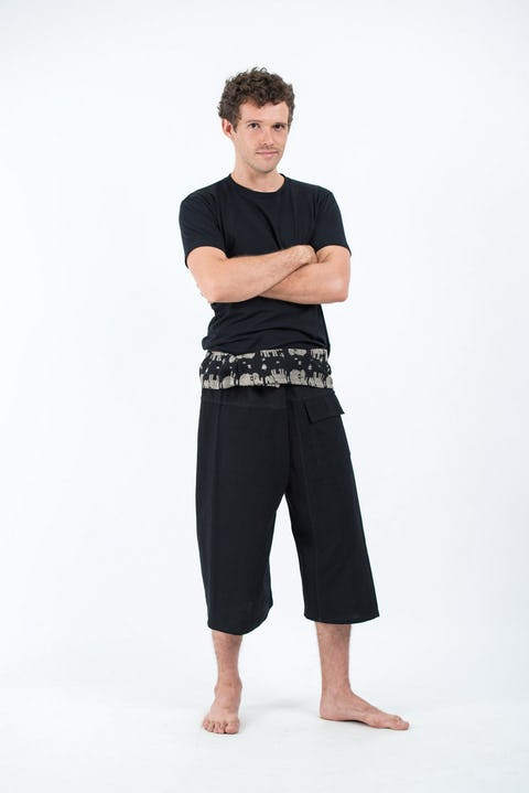 3/4 Unisex Black Thai Fisherman Pants
