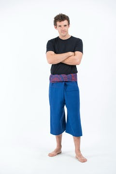 Unisex Low Cut Harem Pants in Solid Purple