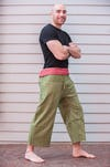 Unisex Green Thai Pin Stripe Cotton Fisherman Pants
