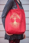 NEW Recycled Cotton Canvass Shopping Tote Bag Tree Of Life Red
