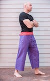 Unisex Purple Thai Pin Stripe Cotton Fisherman Pants