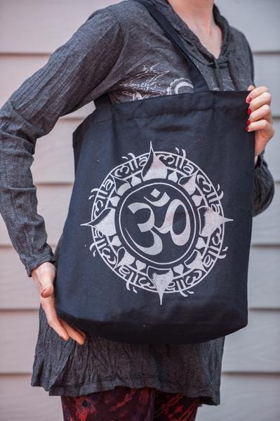NEW Recycled Cotton Canvass Shopping Tote Bag Om Silver on Black