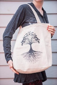 Tree of Life Drawstring Cotton Canvas Backpack in Red