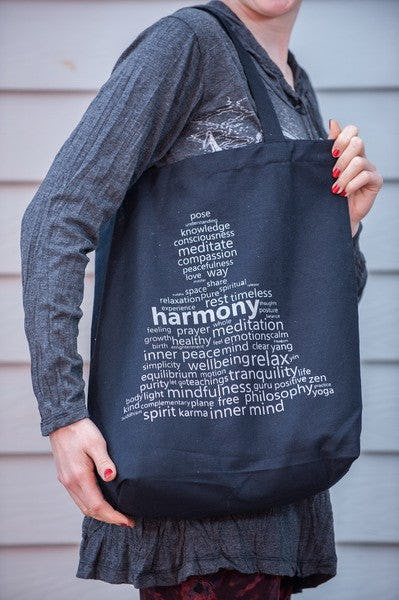 NEW Recycled Cotton Canvass Shopping Tote Bag Harmony Silver on Black
