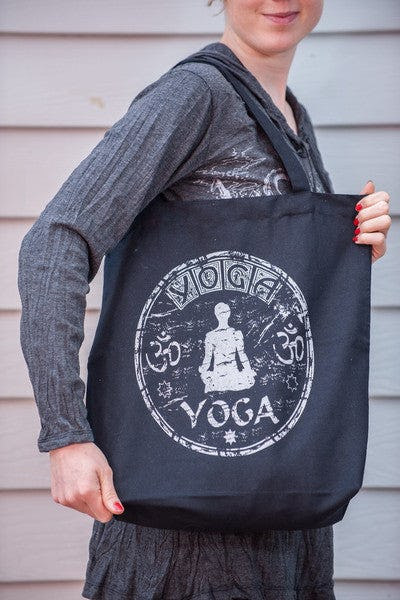 NEW Recycled Cotton Canvass Shopping Tote Bag Yoga Silver on Black