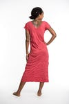 Womens Solid Color V Neck Long Dress in Red