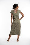 Womens Solid Color V Neck Long Dress in Green