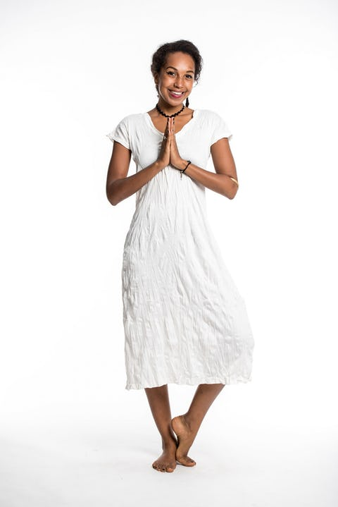 Womens Solid Color V Neck Long Dress in White