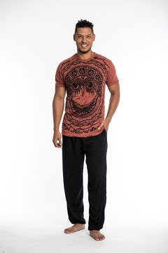 Sure Design Mens Thai Tattoo T-Shirt Brick