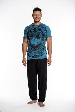 Sure Design Mens Weed Owl T-Shirt Turquoise