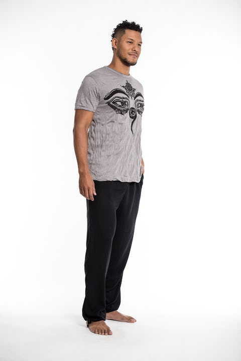 Sure Design Mens Buddha Eyes T-Shirt Gray