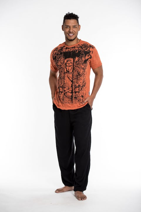 Mens Meditation Buddha T-Shirt in Orange
