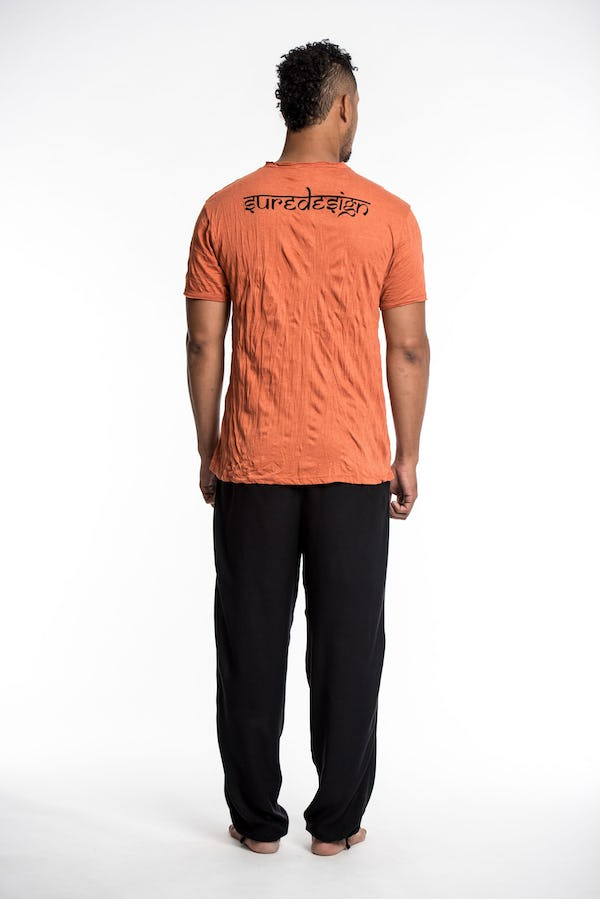 Mens Om Meditation Tree T-Shirt in Orange