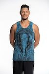 Sure Design Mens Wild Elephant Tank Top Denim Blue