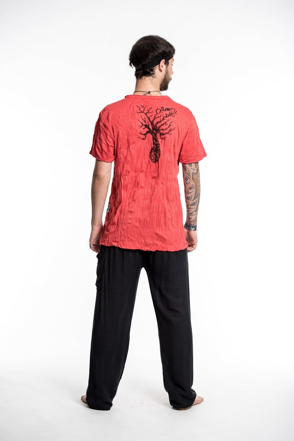 Sure Design Mens Peace Tree T-Shirt Red