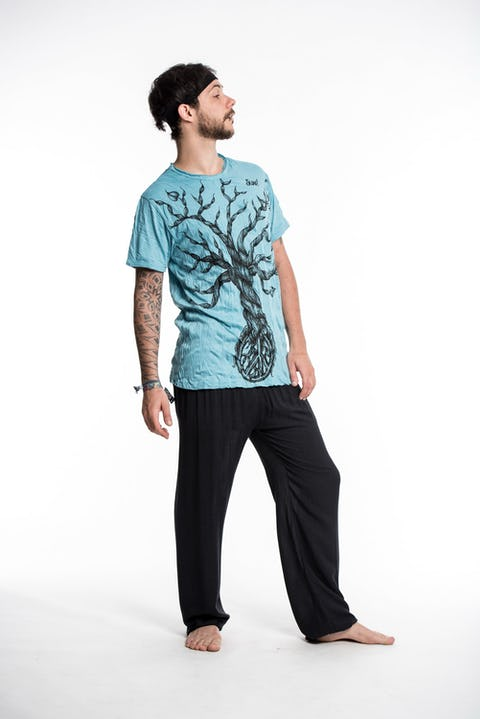 Sure Design Mens Peace Tree T-Shirt Turquoise
