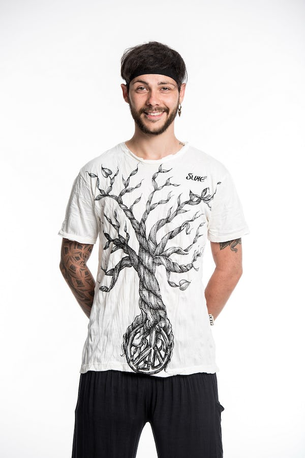 Mens Peace Tree T-Shirt in White