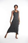 Womens Solid Color Long Tank Dress in Black