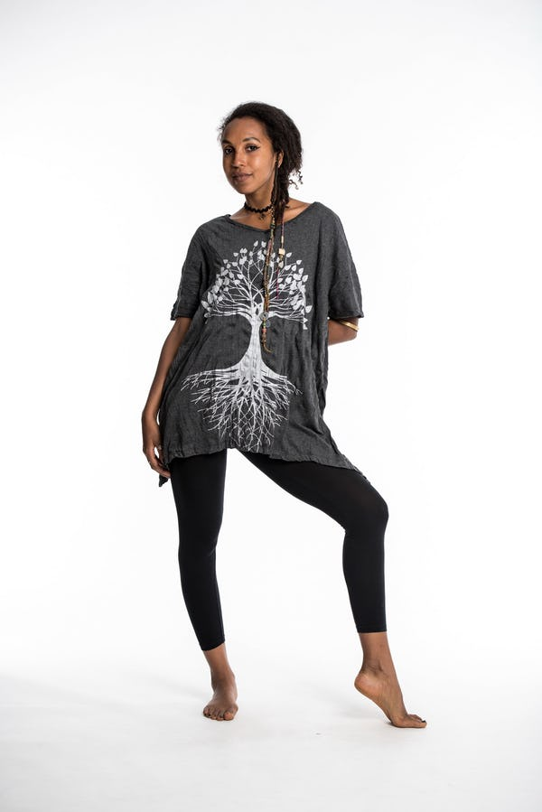 Sure Design Womens Tree of Life Loose V Neck T-Shirt Silver on Black