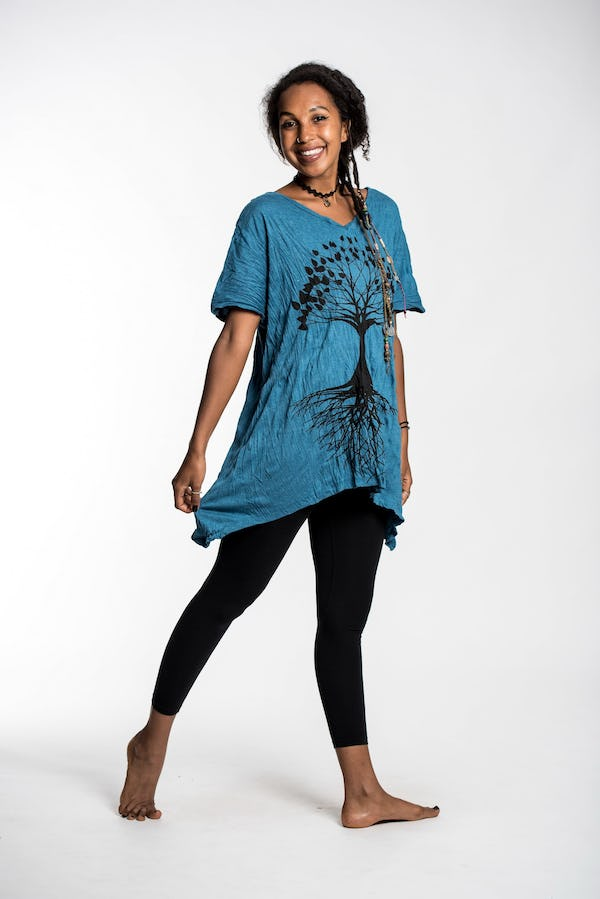 Womens Tree of Life Loose V Neck T-Shirt in Denim Blue