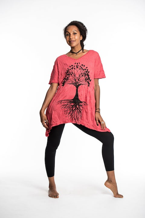 Womens Tree of Life Loose V Neck T-Shirt in Red
